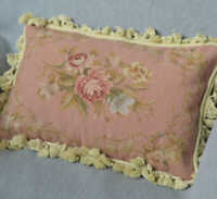French Country Aubusson Rose Needlepoint Pillow Sham Handmade Tassel Wool New
