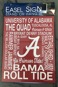 University of Alabama Crimson Easel Sign with Alabama Words Design