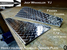 Jeep Wrangler YJ Aluminum Diamond Plate  24 long Fender Covers With Bend