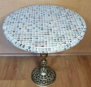 """Custom Handmade Italian Mosaic Tiled Accent Side Table 18""""H/16""""D"""