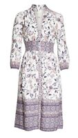NWT $168 Eliza J Floral Linen Blend Peasant Midi Shirt Dress Sz 4