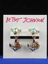 Betsey Johnson Goldtone ANCHORS AWAY Blue Heart Anchor Front Back Earrings $28