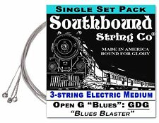 """Blues Blaster"" Electric 3-string Cigar Box Guitar String Set - Low Open G GDG"