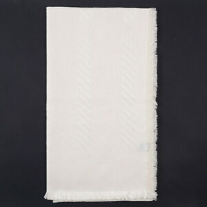 New $525 BRIONI Ivory Superfine Silk Scarf with Jacquard Pattern