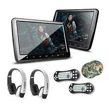 2x 10 Zoll Auto DVD Player Kopfstütze Digital Screen HDMI USB mit 2 IR Kopfhörer