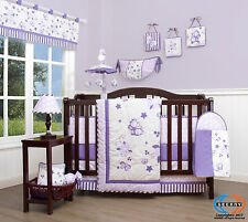 Lavender Butterfly Baby CRIB BEDDING SET - 14PCS Including Lamp Shade