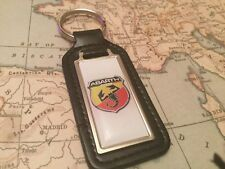 Fiat Quality Black Real Leather Keyring
