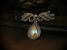 Vintage Pearl Drop and Marcasite Bow Brooch