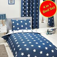NAVY BLUE AND WHITE STARS 4 IN 1 JUNIOR BEDDING BUNDLE - DUVET, PILLOW, COVERS
