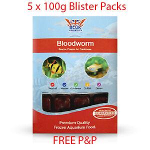 BCUK Frozen Fish Food- 5 x 100g Blister Packs-Bloodworm --FREE P&P
