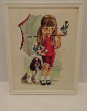 VINTAGE PICTURE/PRINT LITTLE GIRL MADE IN DENMARK SIGNED FUSIMANYA