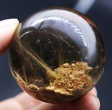 51mm 177.9g Rare Natural Clear Hair Rutilated Quartz Crystal Sphere Ball Healing