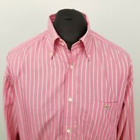 Lacoste Mens Vintage Shirt 43 XL Pink Regular Fit Striped Cotton