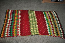 """43"""" x 85""""  vintage MAROON OLIVE GREEN YELLOW  stripe AFGHAN  CHIC DORM READY"""