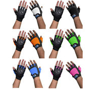 DAM  Leather Weight lifting Gym Gloves Pink, Black,Blue,Orange,White,Green S-XL