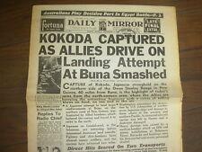 DAILY MIRROR WWII NEWSPAPER NOVEMBER 3 1942 KOKODA CAPTURED BY ALLIES