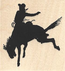 Rodeo Silhouette Cowboy Wood Mounted Rubber Stamp IMPRESSION OBSESSION D13165 Ne