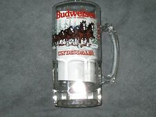 Budweiser Clydesdale Christmas 1988 Glass Mug HEAVY horses