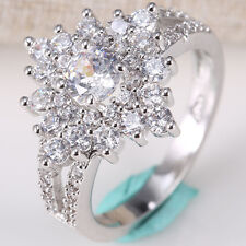 Fashion Jewelry 925 Silver White Topaz Man Women Wedding Bridal Ring Size 6-10