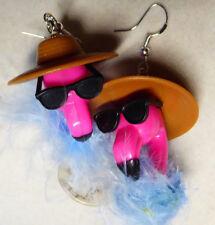 Sunglasses feather Handmade U.S.A. Nora's Funny 925 Earrings Tacky Flamingos