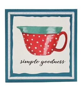 """The Pioneer Woman Simple Goodness Sign Teal Red Batter Bowl 6"""" x 6"""" Metal NEW"""