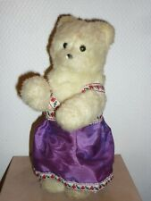 ANCIEN OURS BLANC RUSSE MECANIQUE PELUCHE HABILLEE + CLEF OLD TEDDY BEAR