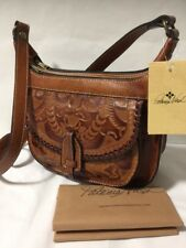 NWT PATRICIA NASH Camila Tan Burnished Tooled Leather Zip Flap Cross Body Purse
