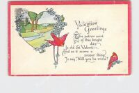 PPC POSTCARD VALENTINE GREETINGS CARDINALS PASTORAL SCENE POEM
