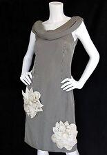 Trelise Cooper 12/8 Dress Silk Striped Floral Applique Draped Neck Sleeveless