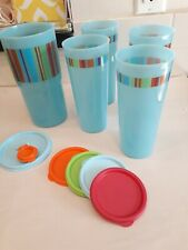 "Tupperware Thirstquake Blue Stripe 30 oz Tumbler ""H"" #2414 Matching Tumblers NOS"
