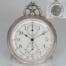 Longines Ärzte Chronograph-Taschenuhr im 900er Silber Prunkgehäuse um 1900