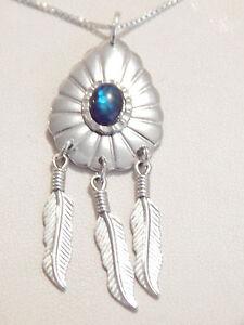 Platinum, Sterling Silver & Blue Paua Shell Pendant & Necklace -Deceased Estate
