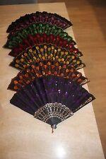 NEW Set of Six Spanish Style Lace Silk Folding Hand Held Flower Fan (6)