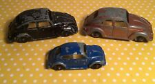 LOT OF 3 OLDER VTG DIECAST METAL VW VOLKSWAGON BEETLE TOY CARS TOOTSIETOY ETC