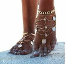 Bracelet Toe & Foot Chain Gold Boho Multi Layer Coin Pendant Anklet Ankle