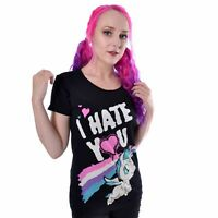 Cupcake Cult Hate You Unicorn Cartoon T-Shirt Punk Emo Tee 100% Cotton Top