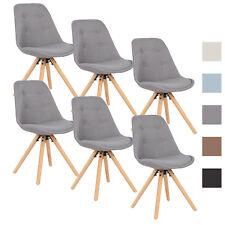 6er Set Esszimmerstühle Küchenstuhl Design Stuhl Leinen Holz BH54gr-6 Grau