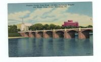 PA Harrisburg Pennsylvania antique linen post card Market St Bridge Hospital