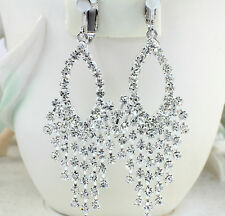 Silver Plated Crystal Clip-On Earrings,  Non-pierced, Wedding-Formal Party