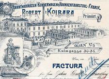 Robert Kolbaba Rechnung Wien 1902 KuK Österreich Matratzen Kinderwagen Rollstuhl