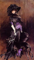 Oil giovanni boldini portrait of the marchesa luisa casati, with a greyhound art