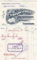 The Simpson Label Company Logo Edinburgh 1906 Label Manf. Paid Receipt Ref 40642