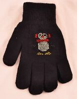 girls SO goves one size black with bling design knit with elastic wrist