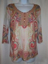 Live and Let Live Paisley Blouse sz M Medium Knit Top Orange, Off White, Sage