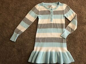 Justice Light Blue White Silver Sparkle Sweater Dress Buttons Ruffle 10 Girls