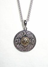 Small Celtic Warrior Shield Pendant Necklace Silver & 18K Gold WP1B