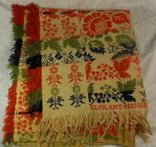 VINTAGE OVERSHOT HAND WOVEN WOOL SIGNED COVERLET,PENNSYLVANIA,CENTER SEAM,4COLOR