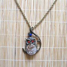 steampunk punk rock gothic men women jewelry necklace pendant owl watch parts