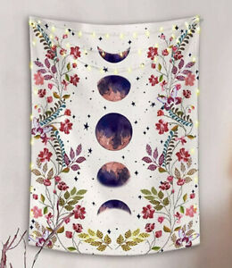 White Moon Phases & Flower Print Tapestry Wall Hanging 70*100cm UK *FAST POST*