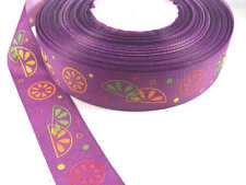 Ruban Satin Gros Grain 25mm Violet Imprimé Fruits Multicolores 5 Mètres 5M
